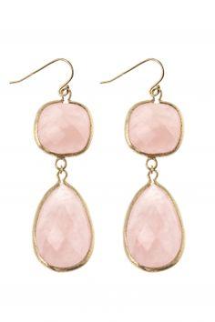 gold plated earrings with rose quartz I designed for NEW ONE I NEWONE-SHOP.COM