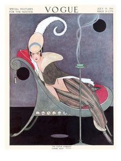 Vogue Cover - July 1914    A woman smiles wryly, wearing a striped skirt, brown coat, and plumed beige hat, as she reclines in a stylish lounge chair. A steaming cup of tea rests on a slender stand in front of her. This illustration, by Helen Dryden, appeared on the July 15, 1914, cover of Vogue.