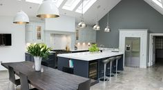 Real Kitchens from 1909 kitchens - high quality kitchens with a quintessentially British feel. Open Plan Kitchen Living Room, Kitchen Dining Living, Real Kitchen, Kitchen Board, Kitchen Island, Dining Room, Handleless Kitchen, Kitchen Cabinetry, Kitchen Layout