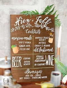 Custom Wedding Bar Menu by erinbreeancreative on Etsy