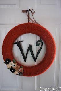 Monogram yarn wreath from @Tracey Fox - My CreativiT