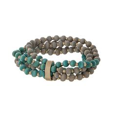 Wholesale wooden multi strand stretch bracelet gray turquoise beads gold accents