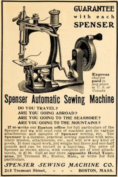 1902 ad for Spenser Sewing machine; ebay seller: periodpaper