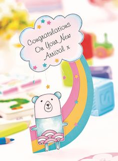 Rainbow New Baby Card Cards Diy, Paper Cards, Origami Christmas Tree, 21 Things, New Baby Cards, New Baby Products, Birthday Cards, Craft Supplies, Projects To Try