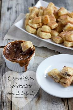 Easy churros with chocolate dulce de leche dipping sauce ohsweetbasil.com