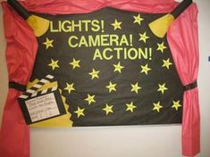 Leah Edington, educator and contributor to the idea sharing site for teachers, Izzyshare, created this fabulous movie set/theater inspired back-to-school bulletin board design to welcome her new...