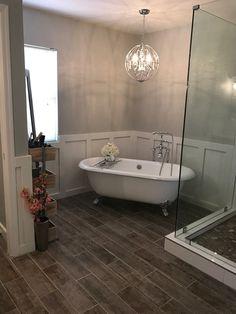 Clawfoot Tub, master bathroom, remodel, bathtub, chandelier, makeup,