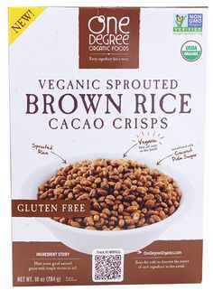One Degree Organic Foods Veganic Sprouted Brown Rice Cacao Crisps Description   Every Ingredient Has a Story Ingredient Story - Meet Some Good Natured Grains wi