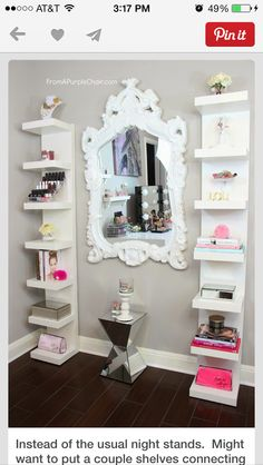 Get two shelves from ikea & mirror from HomeGoods