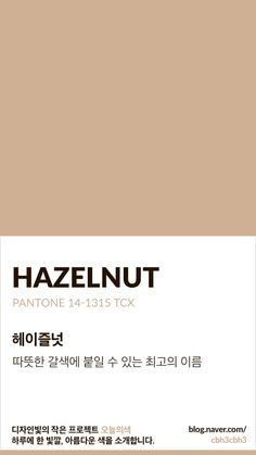 Brown seems outdated but I like the soft underlying copper tones in this hazelnut color. I think this would also be pretty next to some greys and whites. Beige Color Palette, Neutral Colour Palette, Pantone Colour Palettes, Pantone Color, Paleta Pantone, Aesthetic Colors, Color Stories, Color Swatches, Color Theory
