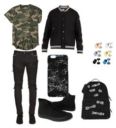 """""""Untitled #14"""" by maribeltheflower on Polyvore featuring Hollister Co., Off-White, Balmain, Converse, Valentino, Rianna Phillips, men's fashion and menswear"""