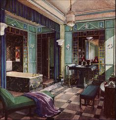 Crane Bathroom, 1929. Jade green, peacock, orchid, black & gold could make a striking room today, even without all the bronze & marble & mirrors. But, of course, they help. --Magnaverde.
