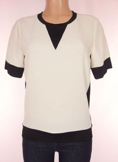 RAG & BONE Top Size XS Extra Small Black Ivory Short Sleeve Combo Knit Career #ragbone #Blouse #Career
