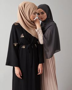 Embody class and sheer elegance. Black Beaded Wrap Kimono Black Slip Dress Iced Coffee Soft Crepe Hijab - Pink Smoke Lace and Pleat Gown Charcoal Soft Crepe Hijab www.inayah.co
