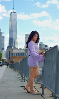 4aad55dba1800 Tiffany Pinero Style Lavender Romper NYC style Friday Workout