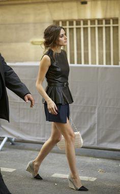 Paris street style, great wedge heels with metallic toe