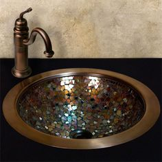 copper & glass mosaic sink