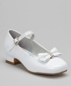 Take a look at this White Sparkle Bow Patent Mary Jane by Josmo on @zulily today!