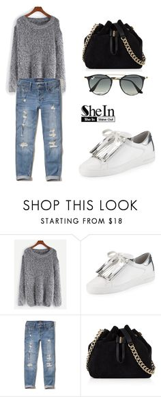 """""""SHEIN Sweater"""" by tania-alves ❤ liked on Polyvore featuring WithChic, MICHAEL Michael Kors, Hollister Co., Karen Millen and Ray-Ban"""
