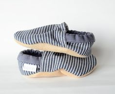 Denim Stripe Toddler Bison Booties