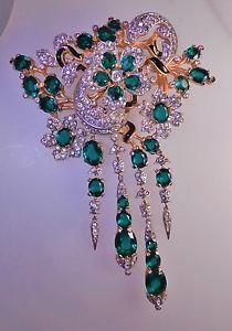 HUGE VINTAGE TRIFARI ALFRED PHILIPPE GREEN CRYSTAL RHINESTONE DANGLE BROOCH PIN, | eBay