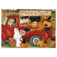 Truck or Treat Halloween Cards Halloween Painting, Holidays Halloween, Vintage Halloween, Halloween Crafts, Happy Halloween, Halloween Poems, Halloween Clipart, Halloween Candy, Truck Or Treat