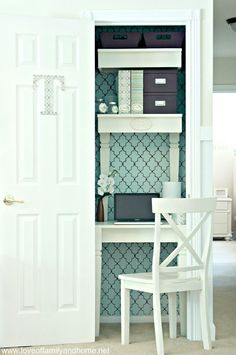 How fun is this? A coat closet turned into a fabulous and stylish home office via Tonya @lovefamandhome