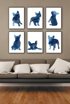 Blue Frenchie Set of 6, Nursery Art Print, Watercolor Painting, French Bulldog Poster, Whimsical Ani