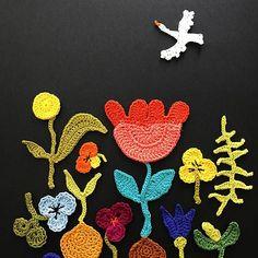 Signs of spring #spring #springflowers #violets #tulips #ferns #crochet #crocheting #hook #sketching #signsofspring #may #kevät #virkkaus