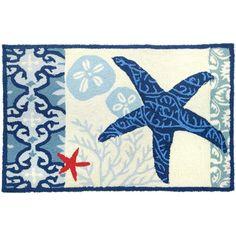 "Italian Tile With Starfish Rug Rug Size: 22"" x 34"