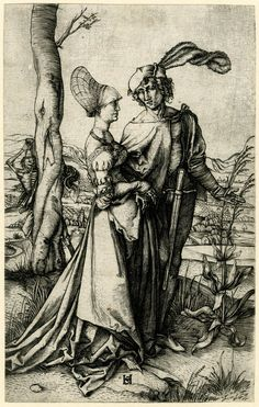 c. 1498-1505 Print made by Monogrammist HS - The Promenade; a young couple walking towards the right, the death in form of a skeleton is hiding behind a tree to the left; a vast landscape is located in the background .  Engraving