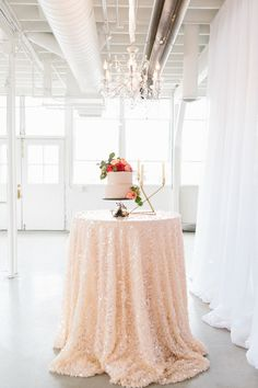 #tablecloth, #cocktail-table  Photography: Kerinsa Marie  - www.kerinsamarie.com  Read More: http://www.stylemepretty.com/2014/06/10/gold-pink-wedding-inspiration/
