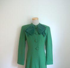 New Listing // Vintage 40s Green Wool Princess Coat by studio1950, $150.00