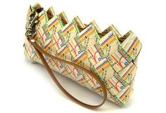 Old transit maps upcycled into a clever clutch purse. A classy way to go green! By Ecoist