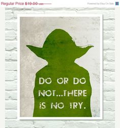 SALE Star Wars Poster, YODA , Boys Room Art Print - 11x14. $15.20, via Etsy.