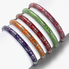 Enamel Bangle, Your Choice of Colors, Sterling Silver