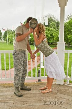 Military engagement photo (Her outfit is perfect too!)