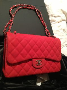 chanel red caviar flap bag (13 S A58600Y07525; 0A059)