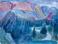 Thorvald Erichsen (1868-1939): Rødt fjell 1917 Seascape Paintings, Dahl, Painters, Landscapes, Drawings, Image, Sketches, Scenery, Paisajes