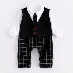 Handsome Plaid Faux-2 Long Sleeves Jumpsuit for Babies