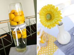 I love the single gerber daisy in the simple vase... super cute and thrifty