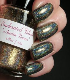 Enchanted Polish  Austin Powers or.. how does such a spectacular linear holographic nail polish even exist?