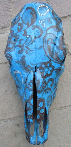 Hand Painted Blue and Brown Lace Cow Skull by MontezumaCowgirlsCo, $200.00