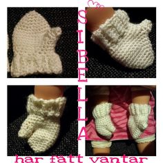 Crochet doll mittens, made from acrylic yarn, My own pattern,