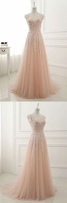 pink round neck lace applique tulle long prom dress, tulle evening dress, pink tulle bridesmaid dress