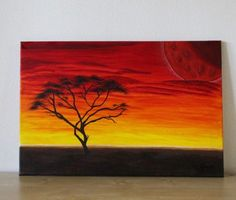 Akazie im Sonnenuntergang Original Acrylbild von FarbenfrohGalerie