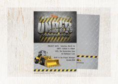 CONSTRUCTION Birthday Invitation  Custom Text  DIY by customaed