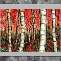 ACEO original  Trees Birch Red by kirohan on Etsy, $6.00