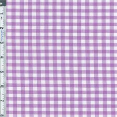 """Cotton Semi-sheer Shirting Gingham Check Fabric By the Yard, Purple. Smooth, ultra light-weight, yarn-dyed shirting woven in a 3/16"""" (5 mm) gingham. Sheer to semi-sheer, suitable for light shirtings, use with an underlay garment or lining for desired amount of opacity or to add more body. Machine wash, tumble dry, no bleach."""
