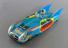 Batman - 1960s Vintage JAPANESE FRICTION-DRIVEN TIN BATMOBILE - tin toy